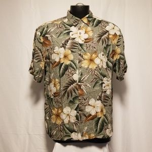 Island Shores Hawaiian Shirt Floral Large